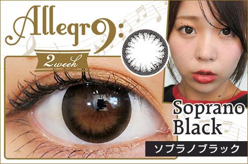 【レポ】アレグロ2WEEK ソプラノブラック、シンプルなブラック1トーンカラコン